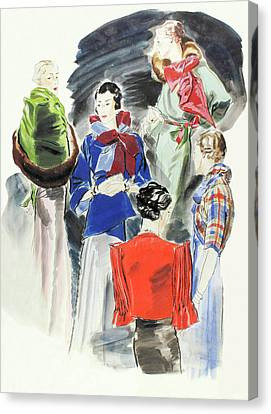 Illustration Of A Group Of Models Canvas Print by Rene Bouet-Willaumez