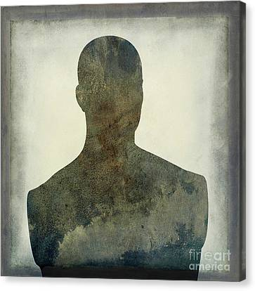 Illustration Of A Human Bust. Silhouette Canvas Print by Bernard Jaubert