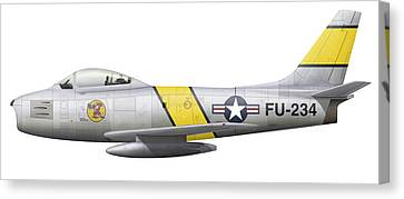 Illustration Of A North American F-86f Canvas Print by Chris Sandham-Bailey