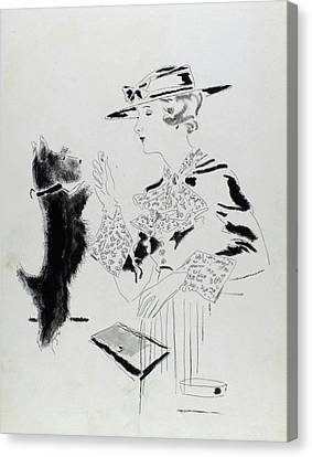 Feeding Canvas Print - Illustration Of A Woman Feeding A Dog by Jean Pages