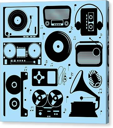 Illustration Of Different Musical Devices Canvas Print by Olillia