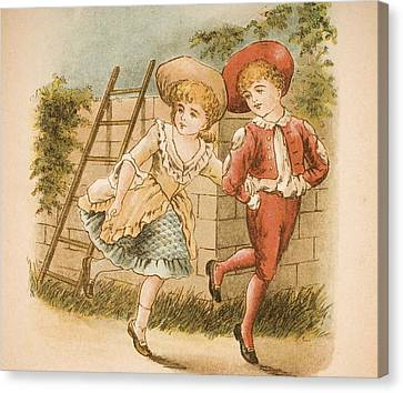 Illustration Of Girl And Boy From Old Canvas Print by Vintage Design Pics
