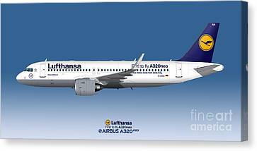 Illustration Of Lufthansa Airbus A320 Neo - Blue Version Canvas Print by Steve H Clark Photography