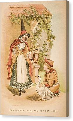 Illustration Of Old Mother Goose And Canvas Print by Vintage Design Pics