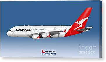 Illustration Of Qantas Airbus A380 - Blue Version Canvas Print by Steve H Clark Photography