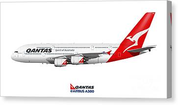 Illustration Of Qantas Airbus A380 Canvas Print by Steve H Clark Photography