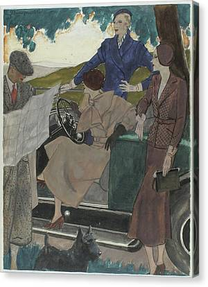 Park Scene Canvas Print - Illustration Of Three Women Leaving A Parked Car by Pierre Mourgue