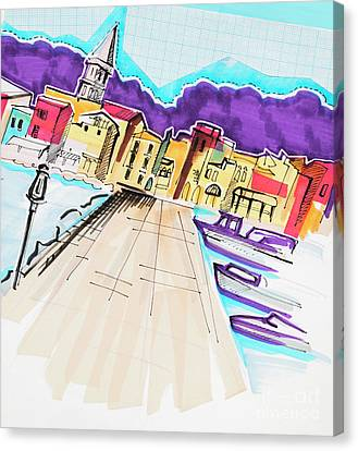 Canvas Print featuring the drawing illustration of travel, Italy by Ariadna De Raadt