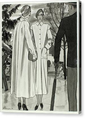 Clutch Bag Canvas Print - Illustration Of Two Women Wearing Coats by Pierre Mourgue