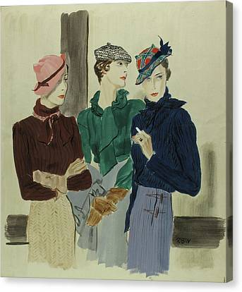 Illustration Of Women Wearing Schiaparelli Canvas Print