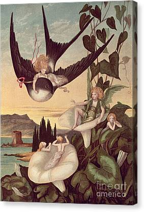 Illustration To 'thumbkinetta' Canvas Print by Eleanor Vere Boyle and Hans Christian Andersen