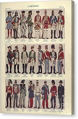 Illustrations Of Military Uniforms Canvas Print by MotionAge Designs