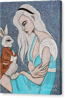 Canvas Print featuring the painting I'm Late by Natalie Briney