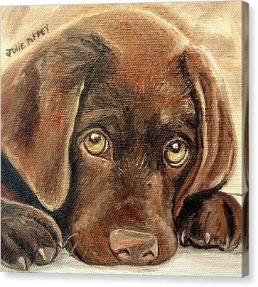 I'm Sorry - Chocolate Lab Puppy Canvas Print by Julie Brugh Riffey