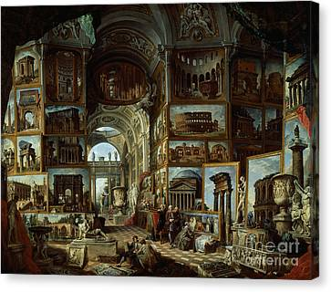 Imaginary Gallery Of Views Of Ancient Rome Canvas Print by Giovanni Paolo Pannini