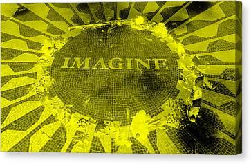 Imagine 2015 Negative Yellow Canvas Print by Rob Hans