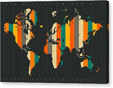Imagine There's No Countries Canvas Print by Jazzberry Blue