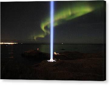 Imagine Tower Of John Lennon In Iceland Canvas Print by Andres Zoran Ivanovic