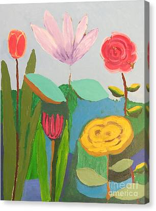 Canvas Print featuring the painting Imagined Flowers One by Rod Ismay