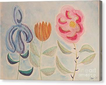 Canvas Print featuring the painting Imagined Flowers Two by Rod Ismay