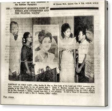 Imelda Marcos 1967 B Canvas Print by Glenn Bautista