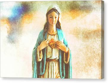 Immaculate Heart Of Mary Canvas Print by Davy Cheng
