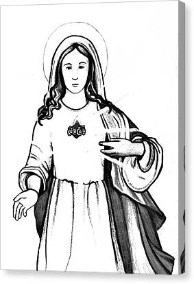 Immaculate Heart Of Mary Canvas Print by Mary Ellen Frazee