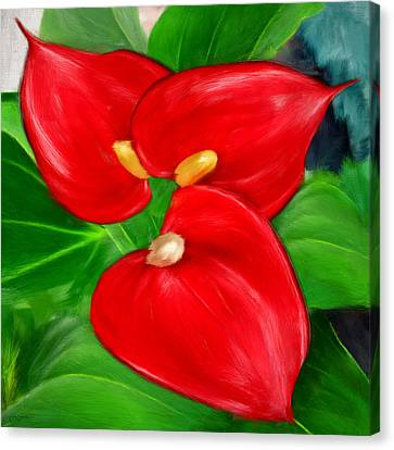 Immeasurable Beauty- Anthurium Paintings Canvas Print by Lourry Legarde