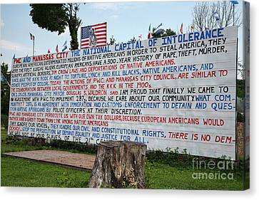 Immigrant Protest Sign In Manassas Canvas Print by William Kuta