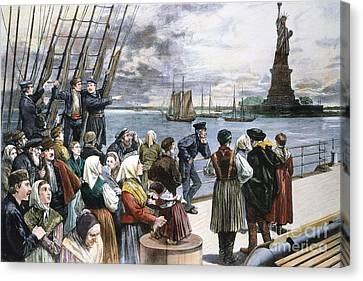Immigrants On Ship, 1887 Canvas Print by Granger