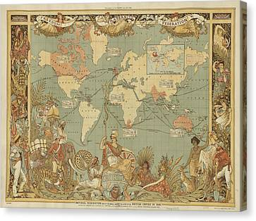 Canvas Print featuring the digital art Imperial Map by Digital Art Cafe