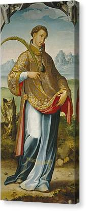 Imposition Of The Chasuble On Saint Ildefonso Canvas Print by San Esteban
