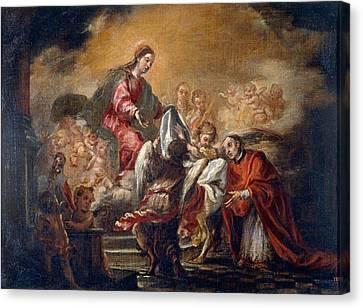 Imposition Of The Chasuble On Saint Ildephonsus  Canvas Print by Juan de Valdes Leal