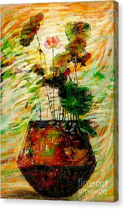 Impression In Lotus Tree Canvas Print by Atiketta Sangasaeng