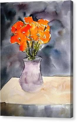 Impression Of Flowers Canvas Print by Larry Hamilton