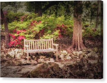 Canvas Print featuring the photograph Impressionist Bench by James Barber