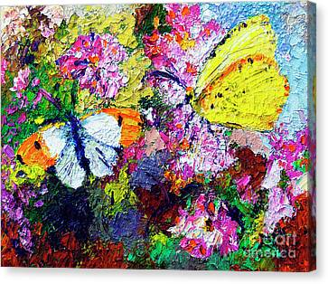 Canvas Print featuring the painting Impressionist Butterflies In Summer Garden by Ginette Callaway
