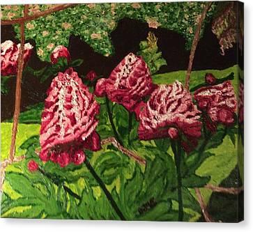 Wisteria In Bloom Canvas Print - Impressionist Peony Garden by Anne Marjorie Erickson