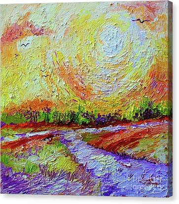 Canvas Print featuring the painting Impressionist Sunny Day Landscape by Ginette Callaway