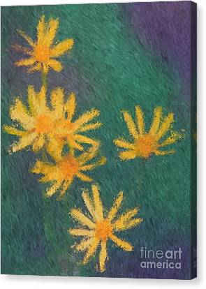 Canvas Print featuring the painting Impressionist Yellow Wildflowers by Smilin Eyes  Treasures