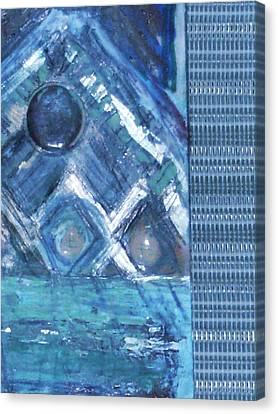 Impressionistic Blues With Buttons Canvas Print by Anne-Elizabeth Whiteway