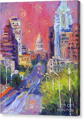 Impressionistic Downtown Austin City Painting Canvas Print by Svetlana Novikova