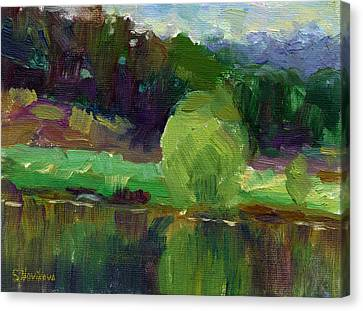 Impressionistic Oil Landscape Lake Painting Canvas Print by Svetlana Novikova