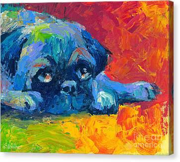 impressionistic Pug painting Canvas Print by Svetlana Novikova