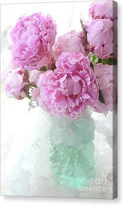 Mason Jars Canvas Print - Impressionistic Romantic Pink Peonies Aqua Vase French Impressionism - Romantic Shabby Chic Peonies by Kathy Fornal
