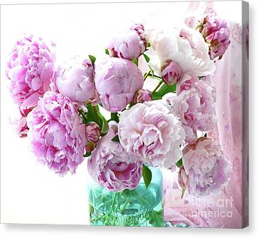 Impressionistic Romantic Pink Peonies Watercolor Romantic Floral Decor - Pink Peony Decor Canvas Print