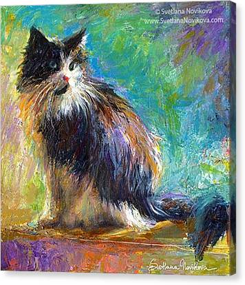 Canvas Print - Impressionistic Tuxedo Cat Painting By by Svetlana Novikova
