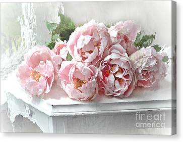 Impressionistic Watercolor Pink Peonies - Pink And White Romantic Shabby Chic Still Life Peonies Art Canvas Print