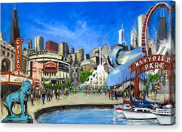 Impressions Of Chicago Canvas Print by Robert Reeves
