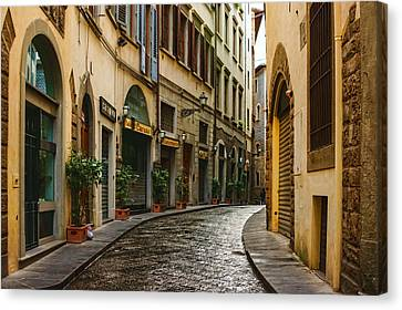 Impressions Of Florence - Walking On The Silver Street In The Rain Canvas Print